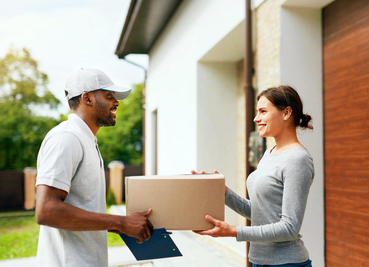 customer getting a parcel