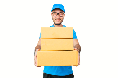 Portrait of happy delivery asian man hands holding cardboard box