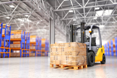 big warehouse on blurred background